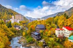 Jozankei, Japan in Autumn. Jozankei, Hokkaido, Japan inns and river skyline during the autumn season stock images