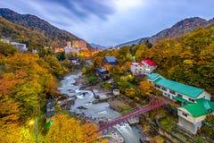Jozankei, Japan in Autumn. Jozankei, Hokkaido, Japan inns and river skyline during the autumn season stock photography
