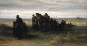 Jozef Israels - pescatori che portano un uomo annegato immagine stock