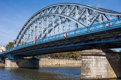 Jozef Pilsudski Bridge on Vistula River in Krakow stock images