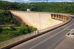 Jozini dam wall. The dam wall for the pongolapoort dam situated at the town of Jozini royalty free stock photo