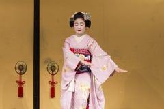 dancing geisha in pink kimono in Kyoto 1 Royalty Free Stock Photography