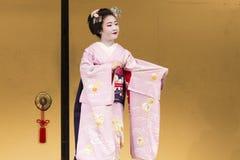 dancing geisha in pink kimono in Kyoto 2 Royalty Free Stock Image