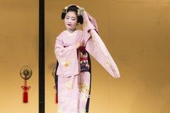 dancing geisha in pink kimono in Kyoto 3 Stock Photo