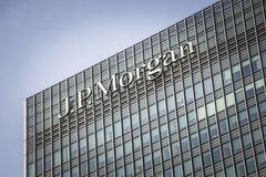 JP Morgan building, Canary Wharf. The JP Morgan building in London`s Canary Wharf financial district. An American investment bank and financial services company royalty free stock photos
