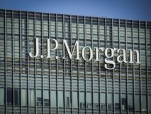 JP Morgan building, Canary Wharf. The JP Morgan building in London`s Canary Wharf financial district. An American investment bank and financial services company royalty free stock images