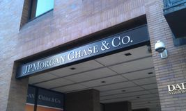 JP Morgan Chase i New York Arkivbild