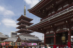 Sanja matsuri festival at the asakusa temple in tokyo japan. The senso-ji temple in tokyo, japan, during the asakusa sanja matsuri in spring 2016. View on the Royalty Free Stock Photo