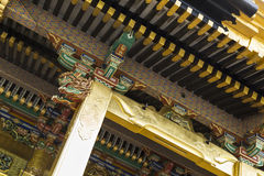 Architectural detail of the golden Toshogu shrine in Tokyo Japan. Architectural details of the gilded Toshogu Shrine in the Ueno park in Tokyo, Japan. Building stock photos