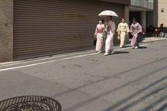 japanese women in traditional kimono walking Royalty Free Stock Images