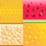 54 eps. Set of honey, watermelon, bread and cheese abstract background Stock Photography