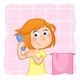Kids - daily routine actions - cute little girl combing her short ginger hair. Jpeg image - 300 dpi - RGB Royalty Free Stock Image