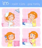 Kids - routine actions - tooth brushing, washing face, taking a shower, hair care - girl with ginger hair Stock Image