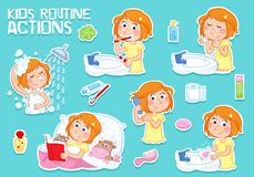 Daily routine actions - girl with ginger hair - tooth brushing, washing face, taking a shower, bedtime, combing hair... Stock Photos
