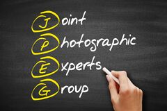 JPEG - Joint Photographic Experts Group acronym, concept on blackboard