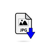 JPG file with blue arrow download button on white background.  Stock Image