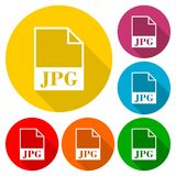 JPG file icons set with long shadow Royalty Free Stock Photos