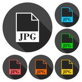 JPG file icons set with long shadow Stock Images