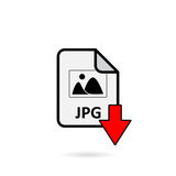 JPG file with red arrow download button. On white background Stock Photography