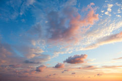 Gentle Sky Background at Sunset time, natural colors Royalty Free Stock Photos