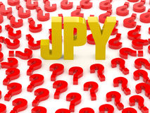 JPY sign surrounded by question marks. Stock Photography