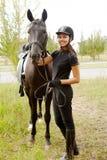 Jóquei com cavalo Foto de Stock Royalty Free