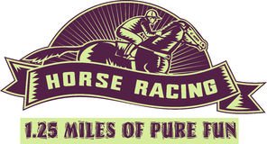 Jóquei do cavalo que compete 1.25 milhas Foto de Stock Royalty Free