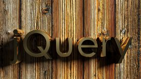 JQUERY brass write on wooden background - 3D rendering