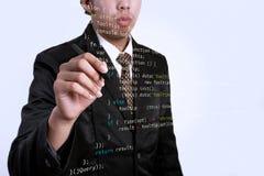 JQuery di scrittura dell'uomo d'affari con l'indicatore sul bordo trasparente bus fotografie stock