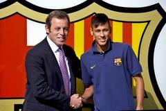 JR de Neymar présentation officielle comme joueur de FC Barcelona Photographie stock libre de droits