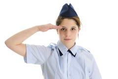 JR que saluda Muchacha adolescente de ROTC Imagenes de archivo