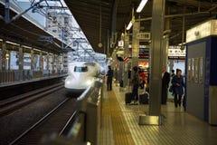JR700 shinkansen bullet train. KYOTO, JAPAN - NOVEMBER 10, 2015: JR700 shinkansen bullet train arrive to Kyoto station. Shinkansen bullet train can transport by Royalty Free Stock Images
