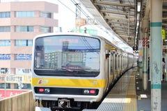 JR station platform in Central Tokyo. Stock Photos