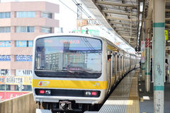 JR station platform in Central Tokyo. stock photos