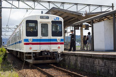 JR Train at Mitaki Station, Japan Royalty Free Stock Photo