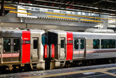 JR train stopping at station in Hiroshima, Japan Royalty Free Stock Photos