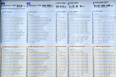 JR train timetable Stock Photo