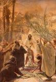 Jérusalem - la peinture de l'entrée de Jésus à Jérusalem (paume Sandy) Peinture dans l'église luthérienne évangélique de l'ascens Photographie stock libre de droits