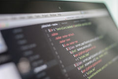 Js code on laptop screen, web development Stock Images