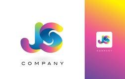 JS de Mooie Kleuren van Logo Letter With Rainbow Vibrant Kleurrijk t Stock Foto's