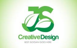 JS Green Leaf Letter Design Logo. Eco Bio Leaf Letter Icon Illus Stock Photos