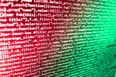 Js i abstrakcjonistyczny tło Programowanie tekst na zmroku ekranie Źródło peceta strony internetowej przedsiębiorca budowlany Dan zdjęcia royalty free