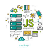 JS line art concept. Vector Line Art Concept of Java Script - JS. Round banner for coding and web programming in blue. green and yellow colors Royalty Free Stock Images