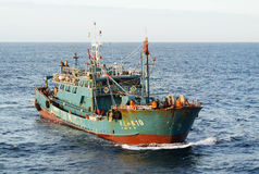 JU LONG JIA YA fishing vessel No.10. Pacific Ocean – October 30th, 2015: The Pacific Ocean, 300 nautical miles to the East from the Japanese island of Royalty Free Stock Photography