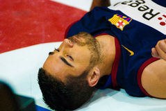 Juan Carlos Navarro spielt againts TAU Vitoria-Basketball-Team Lizenzfreie Stockbilder