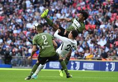 Juan Cuadrado. Football players pictured during preseason friendly game game between Tottenham Hotspur and Juventus Torino on August 28, 5 at Wembley Stadium in Royalty Free Stock Image