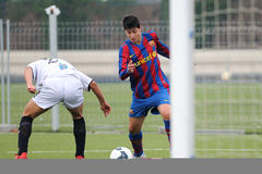 Juan Fernandez Santiago Mara plays with F.C Barcelona youth team against Gimnastic de Tarragona at Ciutat Esportiva Joan Gamper Stock Image