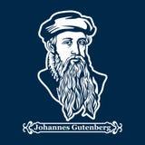 Juan Gutenberg Primera impresora, editor de la primera biblia europea ilustración del vector