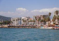 Juan-les-goupilles, FRANCES - 28 août 2014 : Littoral sur la plage publique Images stock