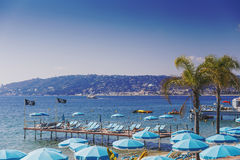 Juan Les Pins beach, Mediterranean tourist destination on the Fr Stock Image